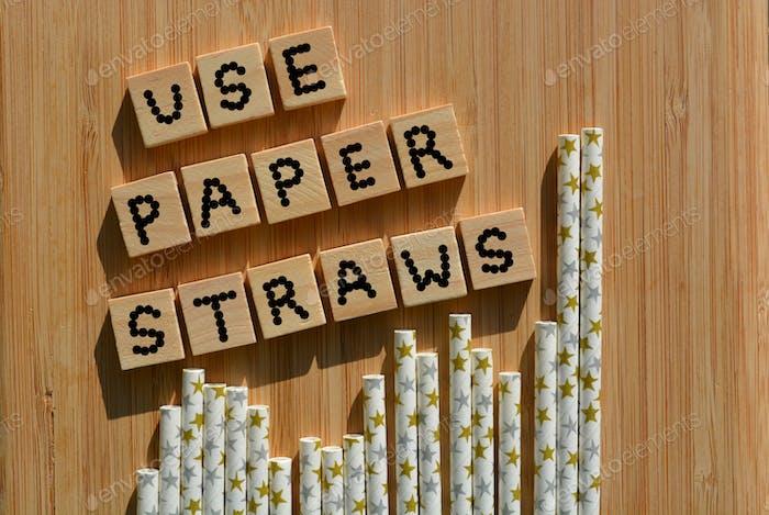 Verwenden Sie Papierstrohhalme