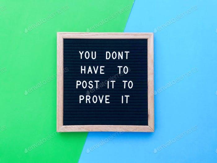 Du musst es nicht posten, um es zu beweisen