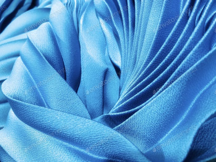 Silky smooth blue fabric pleats