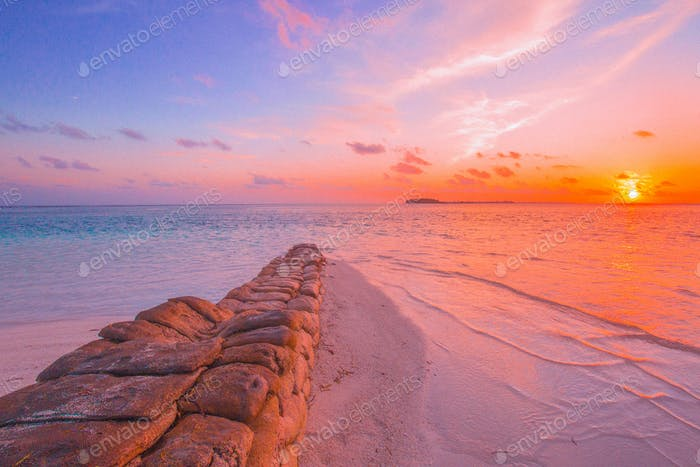 Colorful sunset at Maldives in summer