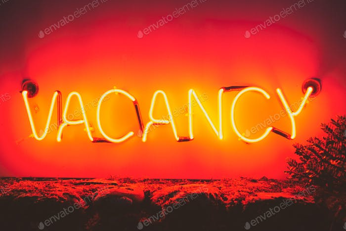 Vacancy neon light sign