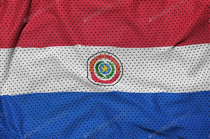 Paraguay flag printed on a polyester nylon sportswear mesh fabric with some folds