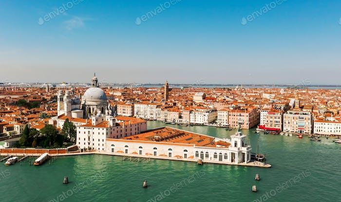 Aerial shot of Venice city and Grand Canal, Italy