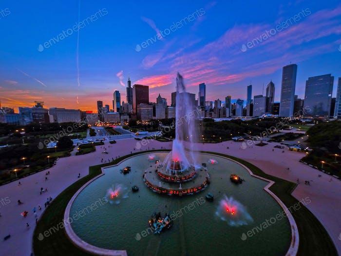 Chicago, turismo, puesta de sol, fuente de Buckingham