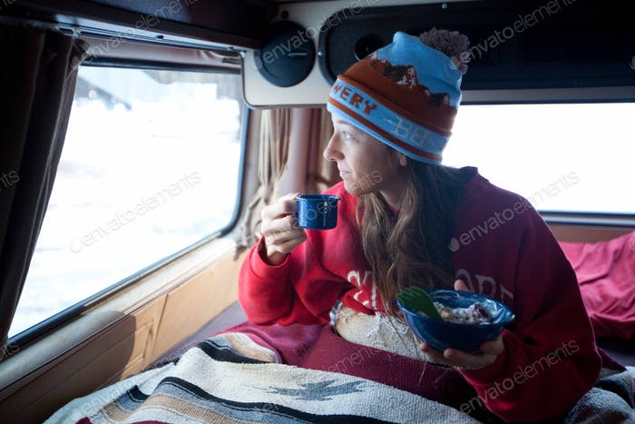 Morning coffee in the van