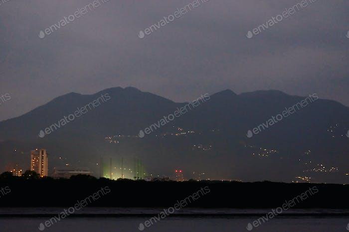 Mountainous city at night