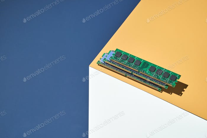 Isometry trendy cube concept. Computer memory module. Yellow and blue. Retail technology shop. Chip
