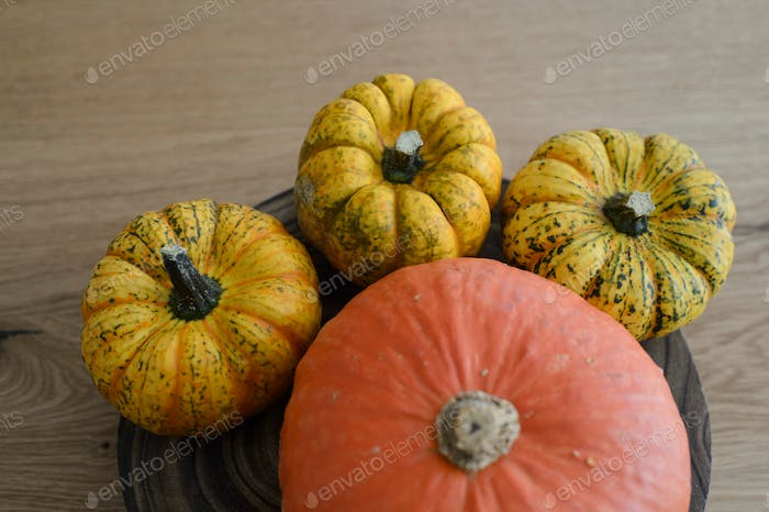 Yellow and orange pumpkins on a wooden table
