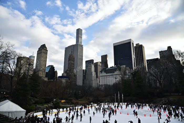 Central park ice rink skyline