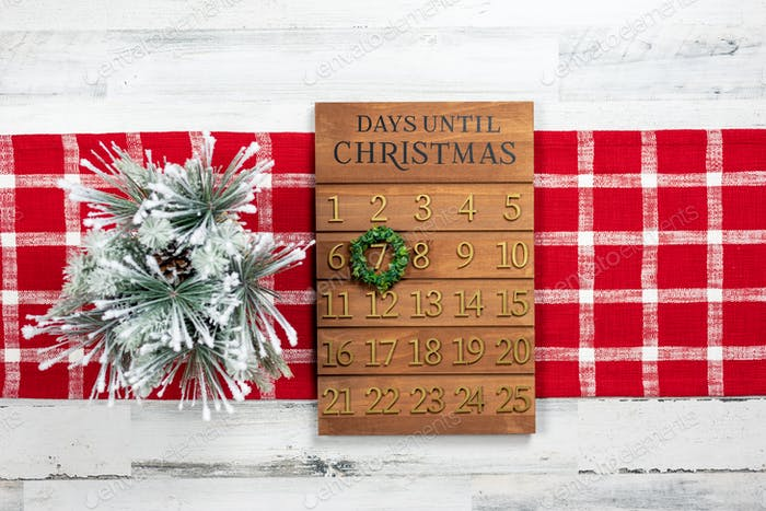Wooden calendar counting down the days to Christmas