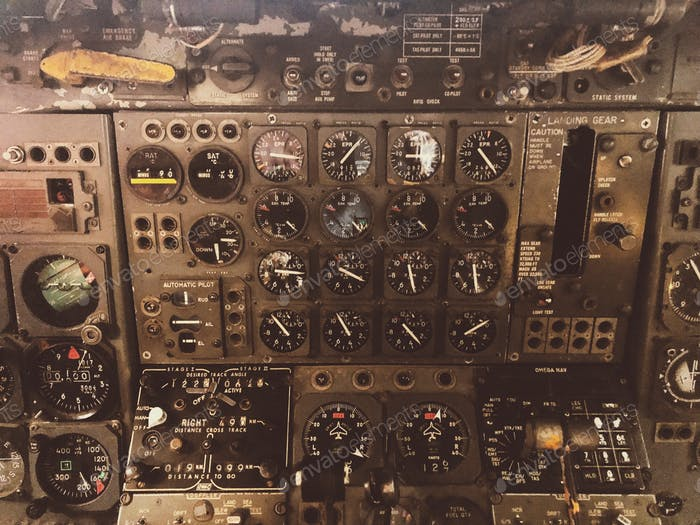 Instrument panel in an old airplane's cockpit