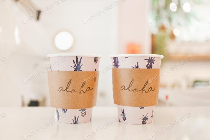 2 Cups of coffee double Aloha (love) in Hawaii