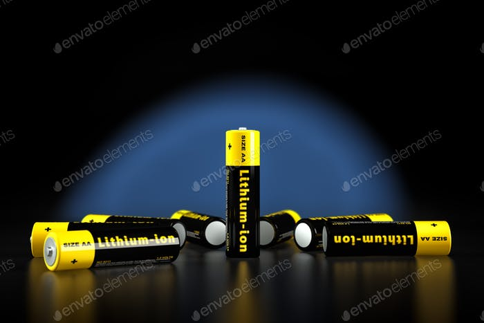 Generic AA batteries with the label 'Lithium Ion'