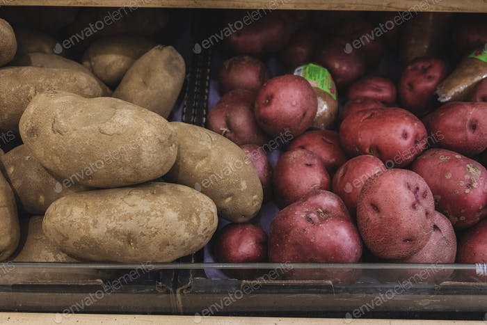 Food in the supermarket, produce, different type of potatoes