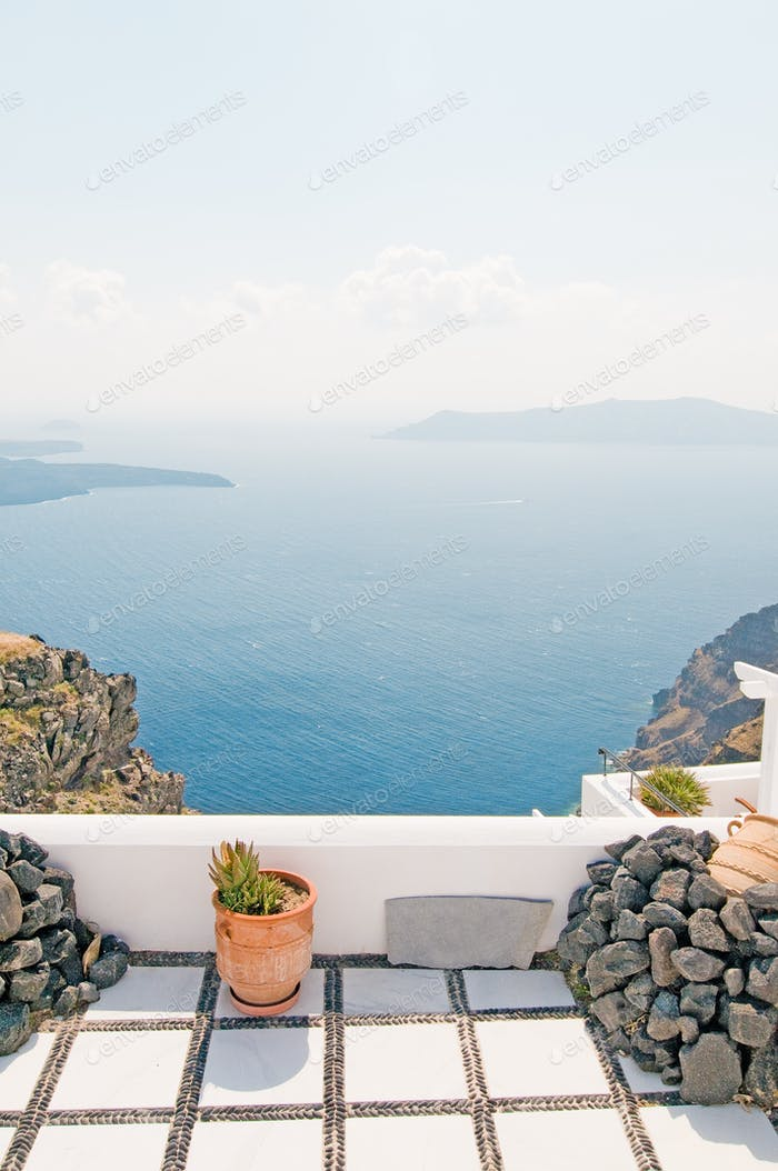 ⚡ Nominated ⚡ View of Santorini island, cyclades, sky and sea
