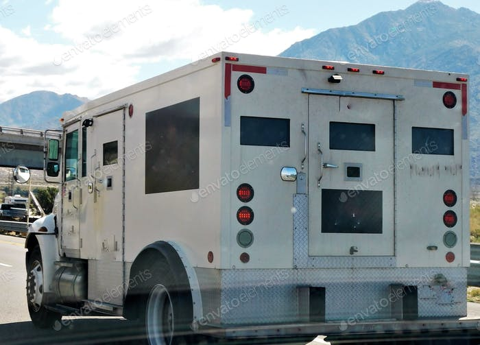 Finance and Wealth Transportation and Logistics! An armored truck carrying cash and coin