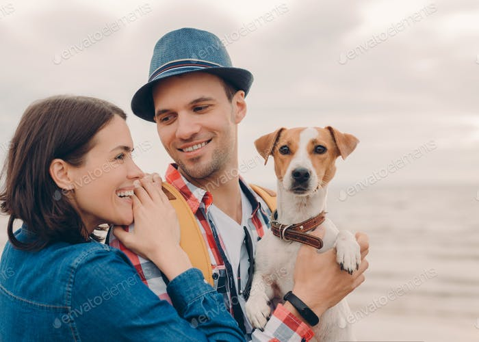 Pleased young woman and man dressed in hat and shirt, carry pedigree dog, have fun together