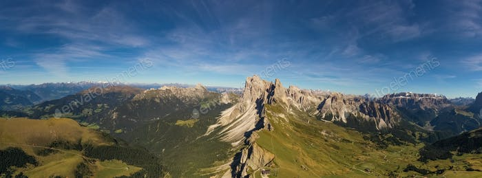 Amazing panoramic view in the Dolomites mountains