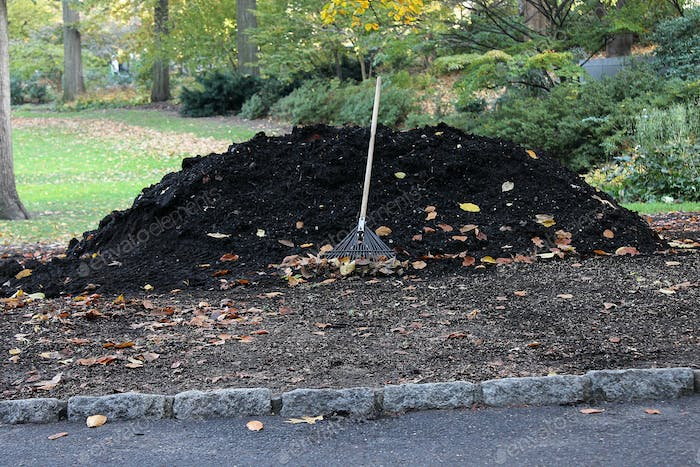 Raking up soil and leaves, composting