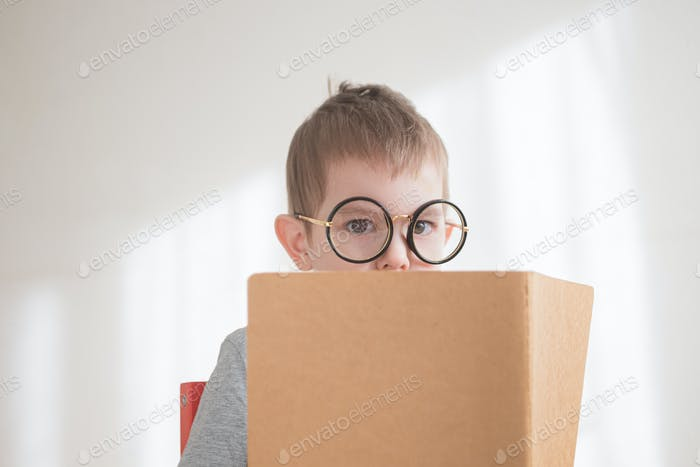 Toddler preschooler in glasses reading book