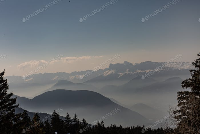 Mountains in a foggy day