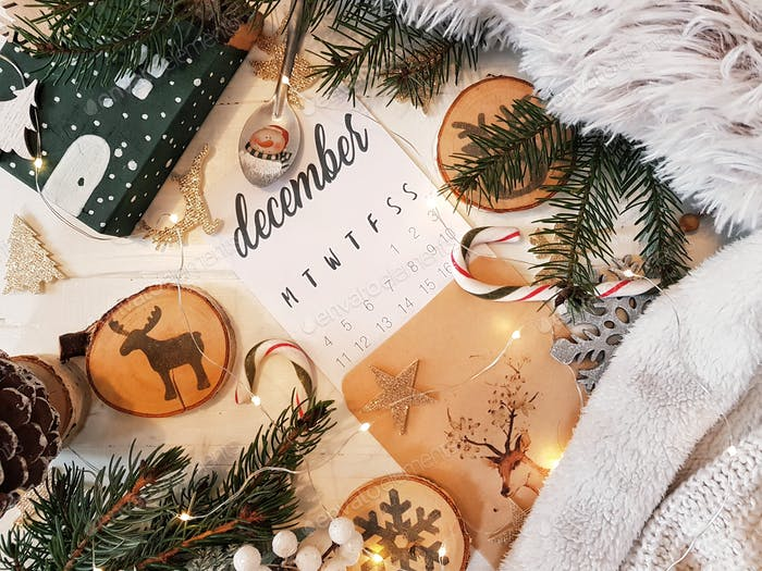 December christmas calendar flatlay, decorations, lifestyle.