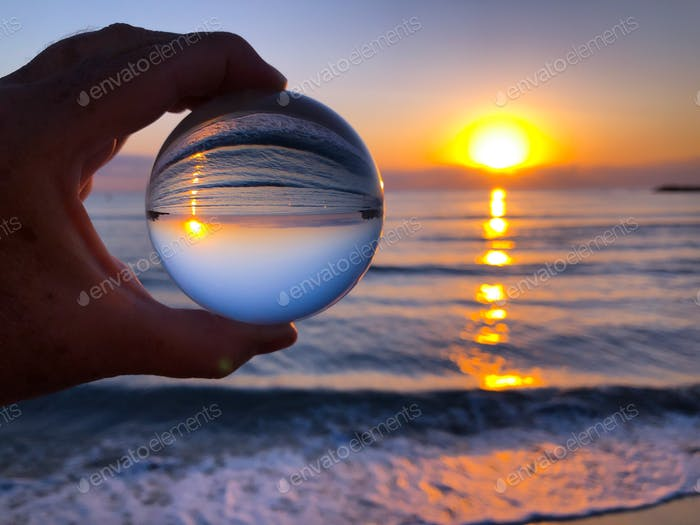 Sunrise through a crystal lensball. Looking to a brighter future