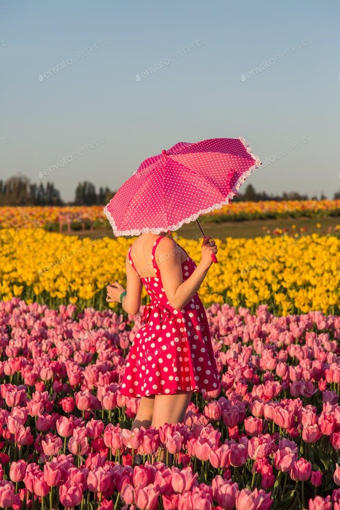A portrait in a field of tulips.....