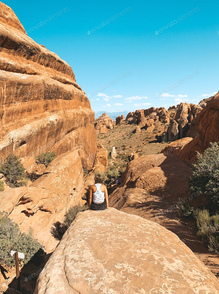 Hiking with a view in Moab, Utah