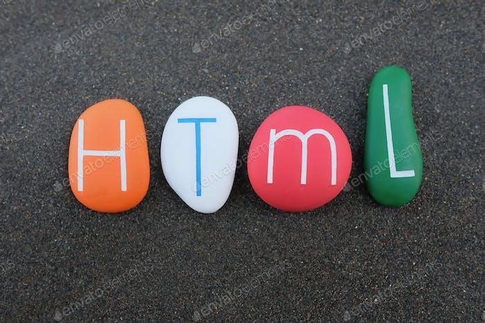 HTML, Lenguaje de marcado hipertexto compuesto por piedras de colores sobre arena volcánica negra