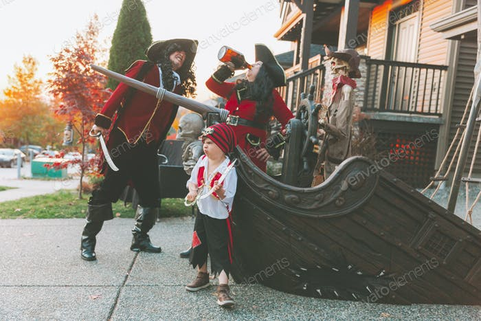 A family dressed as pirates.