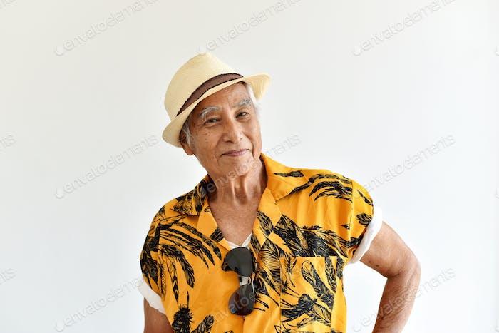 Cheerful asian senior old man