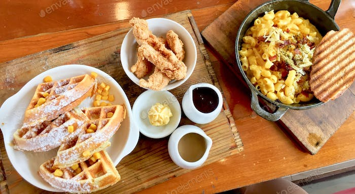 chicken and waffles. mac n cheese