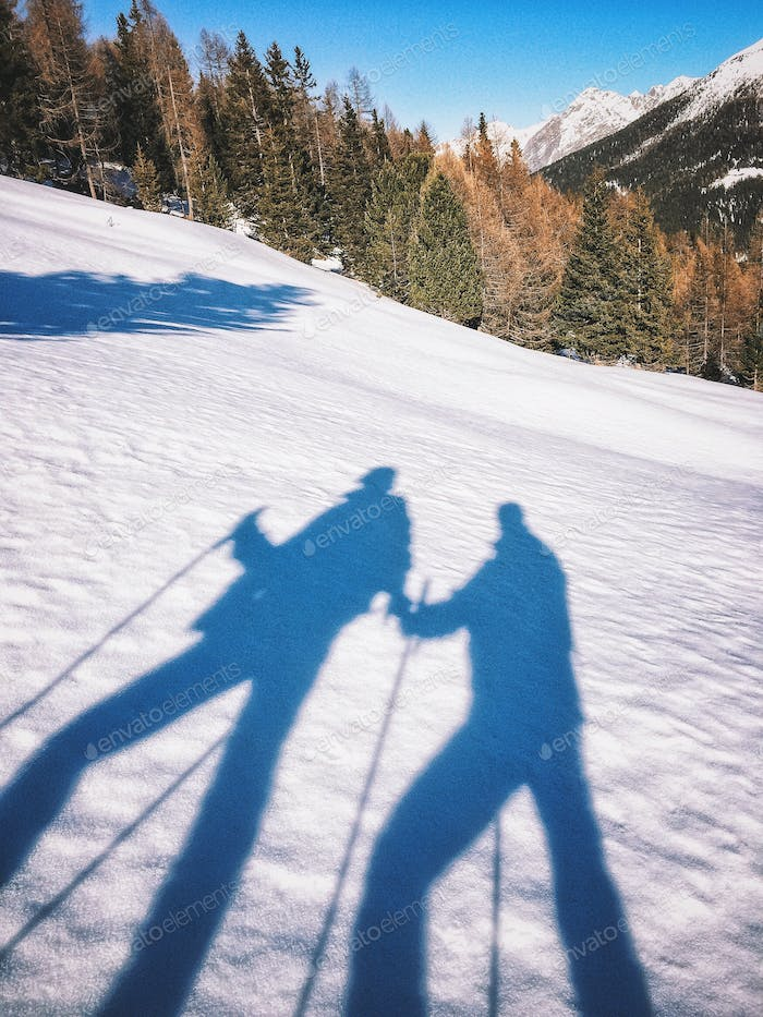 Snowshoeing together.