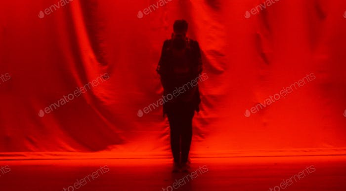 Red background silhouette