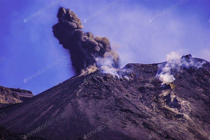 Eruption on the island of Vulcano in the Aeolian archipelago, Italy.