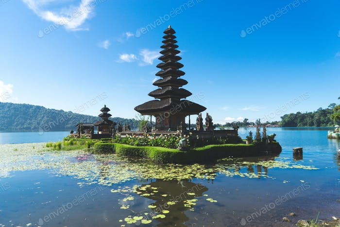 Floating temple in Bali, Indonesia with beautiful lily pads