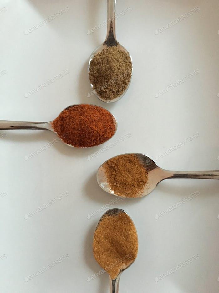 Cumin, paprika, cayenne pepper and Mexican chili powder