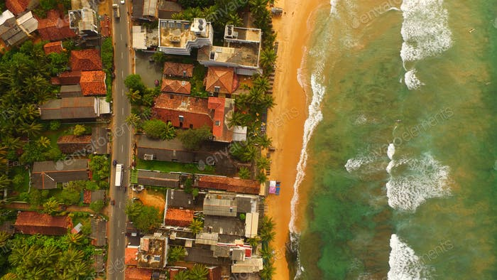 Beachfront village in Sri Lanka