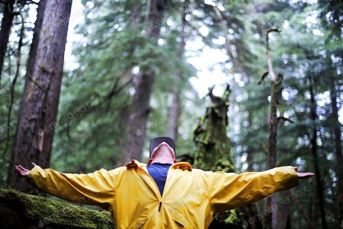 Joy in the Alaskan rainforest