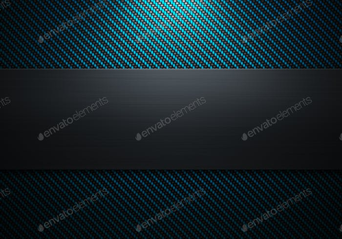 Carbon fiber texture with polish metal plate on center