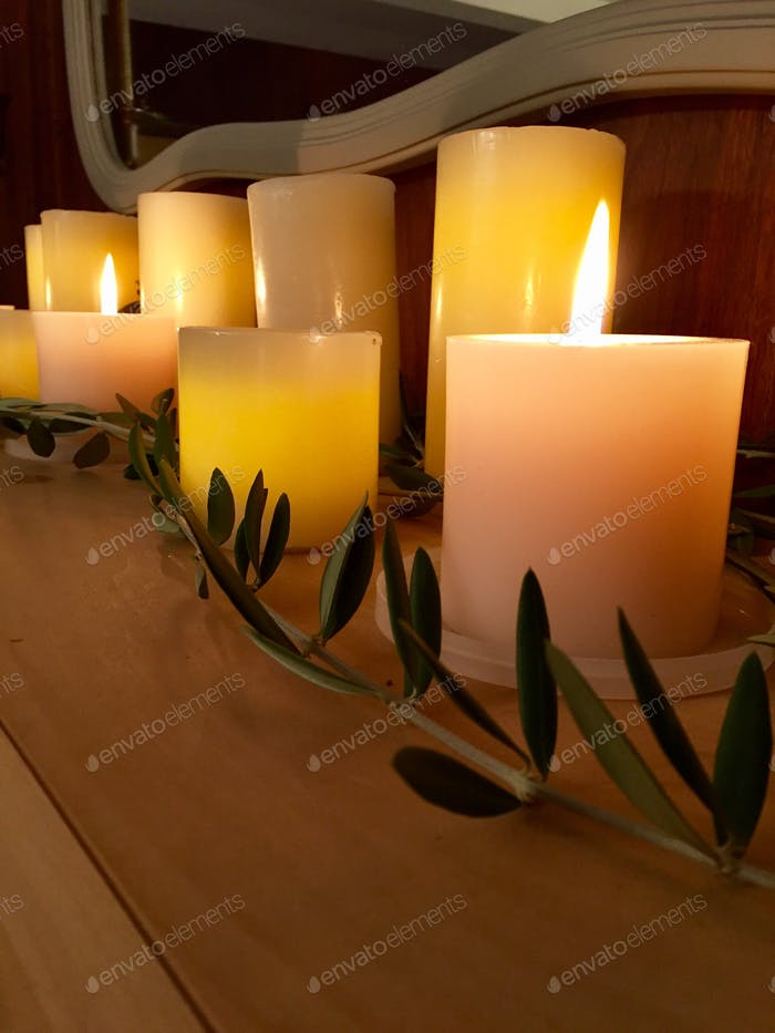 Candle lit mantle