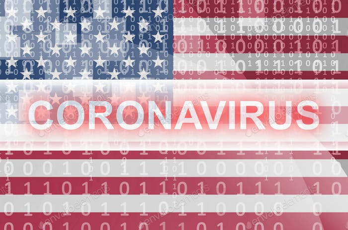 United States of America flag and futuristic digital abstract composition with Coronavirus white