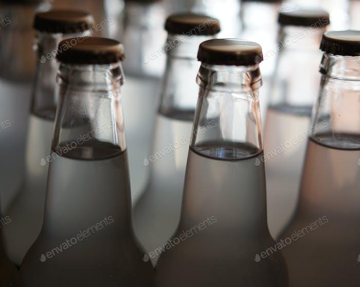 Soda bottles on display.