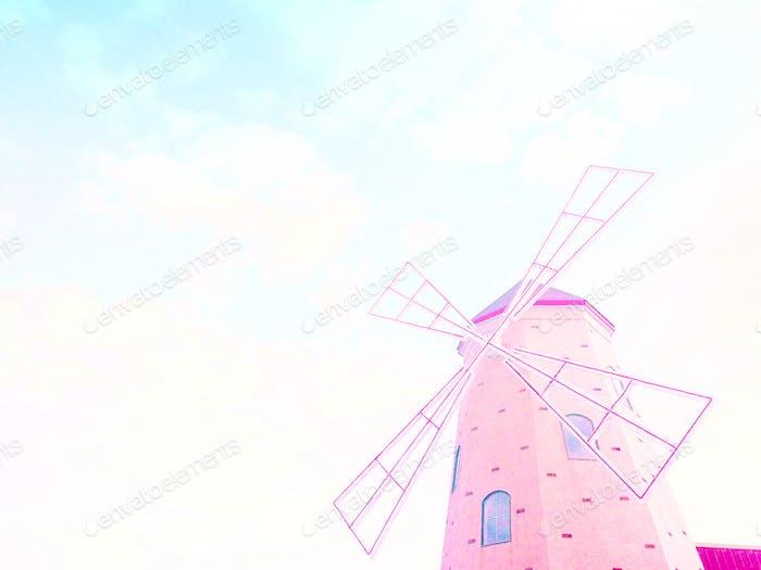 Molino de viento etéreo rosa