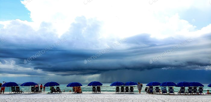 A rainy day in Florida at the beach during vacation with angry sky....