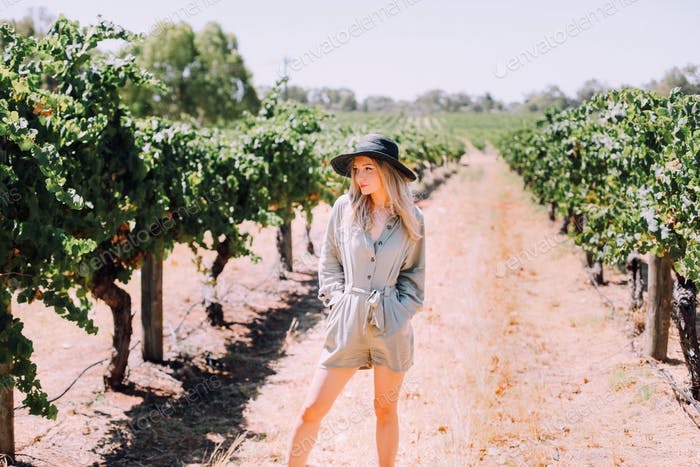 Girl in a winery