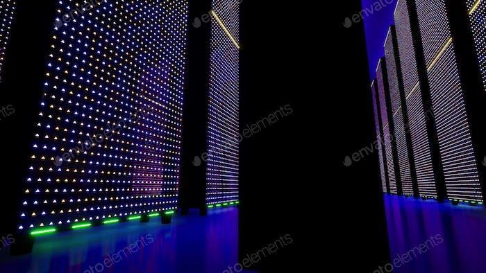 Servidores de datos detrás de paneles de vidrio. Centro de datos. Big data. Súper computadora.