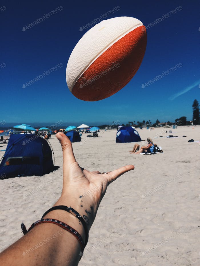 Levitating ball in the beach