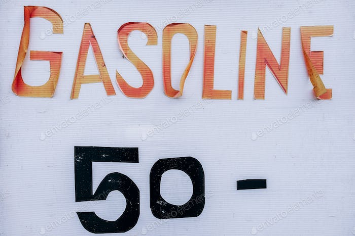 Gasoline is for sale at the rate of 50 Baht